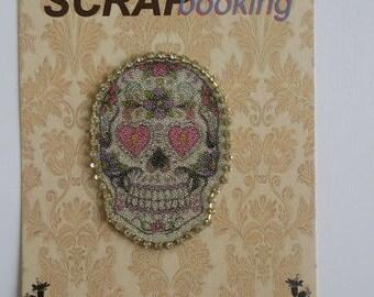 Coat reinforcement patch embellishment applique motif skull and trass fusible