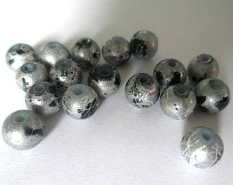 20 beads painted shiny silver speckled and glass drawbench 6mm (25 C)