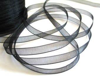 10 m 6mm black organza Ribbon
