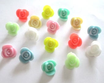 set of 16 beads acrylic flower mix color 15x15x8mm