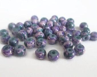 20 dark green, purple and purple glass beads painted 4mm