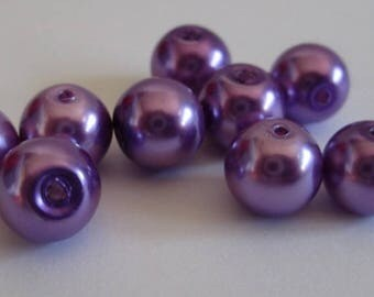 10 purple pearl beads, painted glass 8mm (D-11)