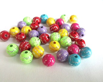 lot 50 acrylic beads 8mm silver color line pattern mix