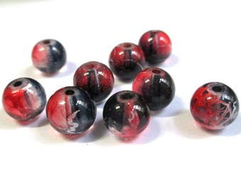 10 black, red translucent 10mm beads