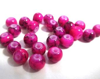 50 fuchsia speckled Black 4mm glass beads
