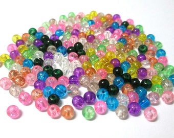 200 Crackle glass beads 4mm mix color