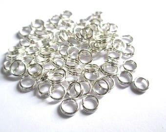 100 jumprings double 5 mm silver jump
