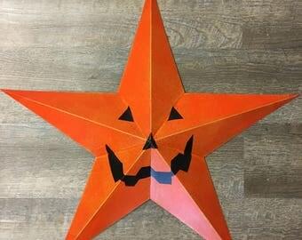 """12"""" Jack O' Lantern Pumpkin Barn Star"""
