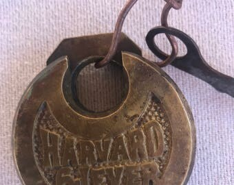 Old Harvard 6 Lever Pancake Padlock working with Key