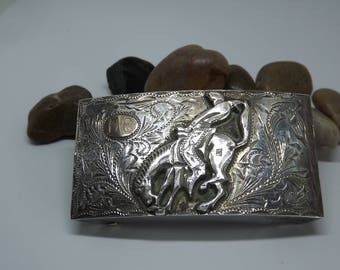 Beautiful Old Sterling Silver Horse w/ Bronco Rider Belt Buckle Mexico