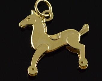 14k Stylized 3D Horse Charm/Pendant Gold