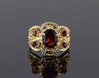 14k 1.60 CTW Garnet Filigree Nugget Ring Gold