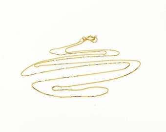 """14k 0.5mm Box Link Fancy Chain Necklace Gold 18.5"""""""