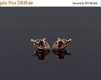 Big SALE 14k Amethyst Leaf Filigree Stud Earrings Gold