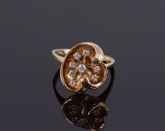 14k 0.10 Ctw Diamond Textured Floral Abstract Ring Gold