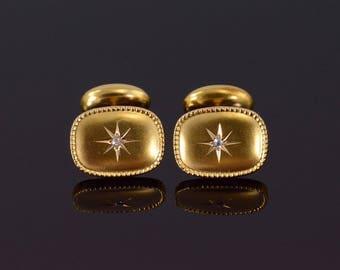 14k Diamond Starburst Rounded Granulated Dot Trim Cuff Links Gold