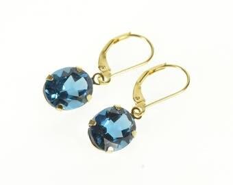 14k Oval Blue Topaz Dangle Lever Back Earrings Gold