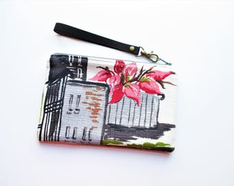 City Buildings Trees Gray Pink Vintage Barkcloth Fabric Northcliffe Wristlet Makeup Bag Pouch Gift for Her Holiday Christmas