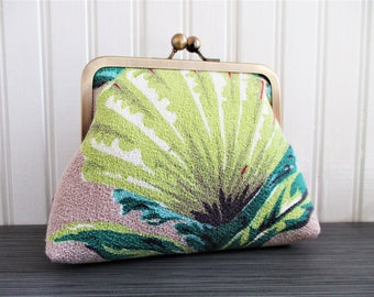 "Chartreuse Shell Turquoise Seaweed Pink Coral on Taupe Vintage Barkcloth Fabric 6"" Antique Brass Kisslock Frame Clutch Wristlet Crossbody"