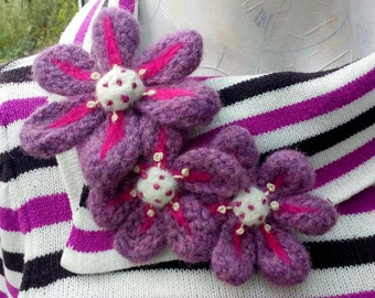 Large Purple Felted Knitting Statement Flower Brooch