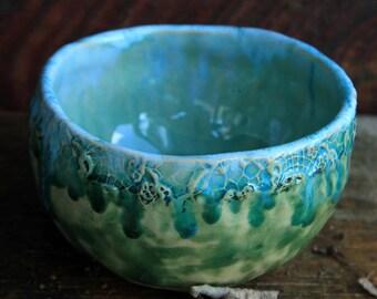 blue lace bowl ceramic lace bowl ceramic serving bowl lace pottery blue decorative bowl rustic