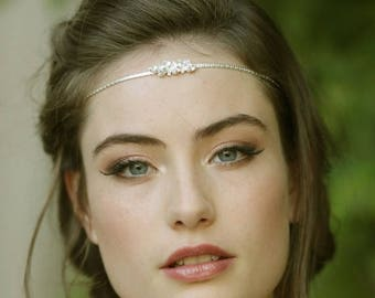 Bridal Head Chain, Boho Bridal Headband, Bridal Headpiece, Boho Head Piece, Bridal Forehead Band, Wedding Hair Accessory, Bridal Hairband