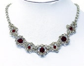 Red and Silver Rococo Necklace