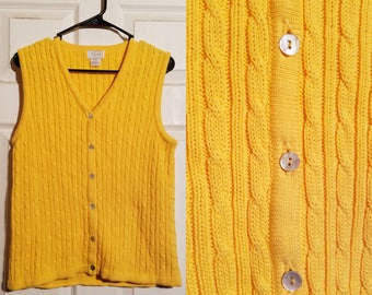 Yellow sweater vest | Etsy