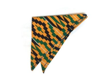 Yellow Green Kente Handkerchief, African Print Pocket Square, Wedding Groomsmen Favour Gift