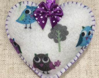 Lavender sachet / lavender heart / felt heart / Handmade heart / hanging heart decoration / padded heart