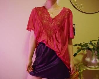 80's Fuchsia Pink Mini Nightgown