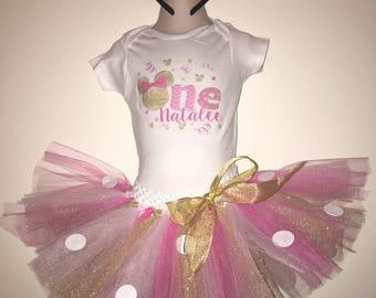 Minnie 1st Birthday Outfit // Minnie Tutu // Minnie Birthday Outfit // Pink and Gold 1st Birthday