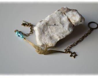Blue Bird and pearl bracelet,