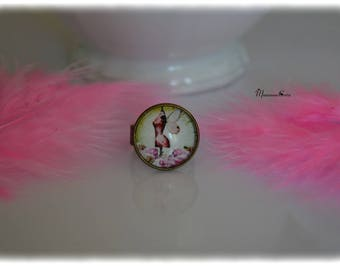 Pink Adjustable ring bronze bust with wings