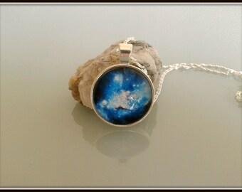 Necklace blue Galaxy cabochon