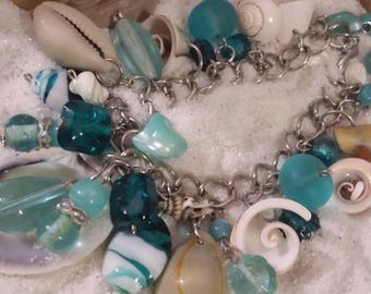 At the Beach~Teal_Blue/ green_Blue_Silver_Seaglass & shells_Lampwork bead Bracelet Nautical_Casual_Boho Marine_Handmade_Unique OOAK Jewelry