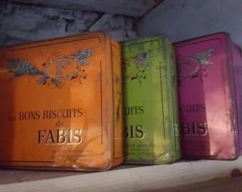 French Vintage Biscuit tins / Fabis Tins / Set of 3 tins / French Tin / Vintage Storage Tin / Biscuit tin / Vintage storage biscuit tins