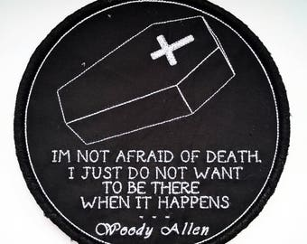 7inch embroidery hoop black with coffin and Woody Allen quote