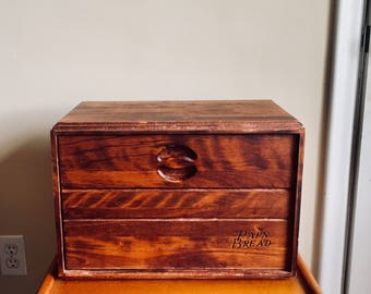 Mid Century Baribocraft Maple Wood Bread Box made in Canada.