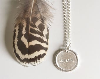 Breathe Necklace, Word Necklace, Bar Necklace, Yoga Necklace, Bohemian Necklace, Bohemian Jewelry, word jewelry