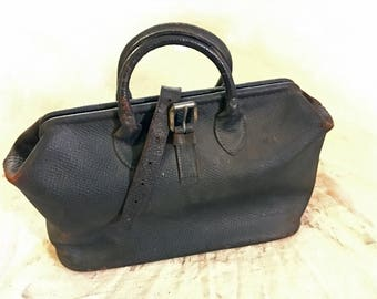1920's Distressed Black Leather travel Bag