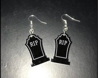 Gothic Gravestone RIP earrings