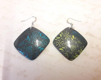 "Earrings collection ""Hindu"" blue-green"
