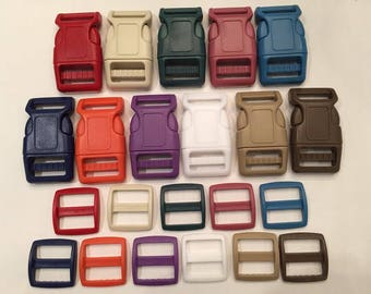 """11 Pack 1"""" Curved Side Release Buckles and Slides - One of Each Color Shown"""