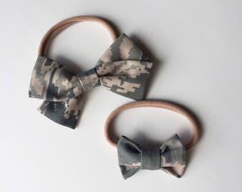 Air Force ABU camo hairbow //Fabric folded Bow