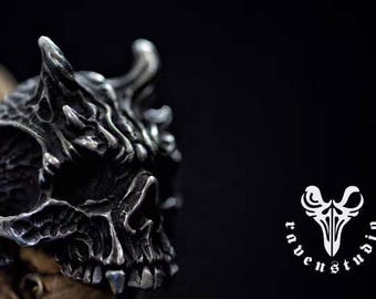 925 Sterling Silver Satan's Mask Ring