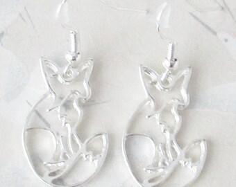 Fox earrings, silver origami, fox loops, fox jewel, origami fox, gift for her