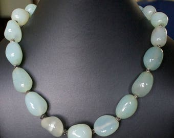 ON SALE Delicate Chalcedony Silver Necklace