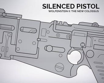 Wolfenstein 2  The New Colossus silenced pistol blueprint 1:1 scale