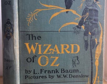 Second ed, 1904-1913, The Wizard of Oz, Frank Baum, illustrated by W.W. Denslow, The Bobbs-Merrill Company, antique children's classic book